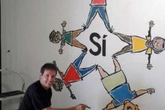 Jaume gubianes pintan el mural